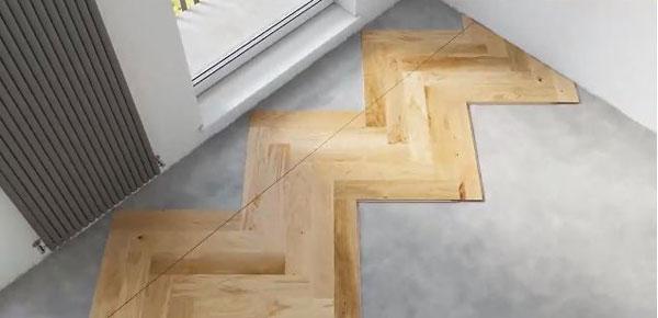kẻ một đường thẳng trên bề mặt các tấm sàn