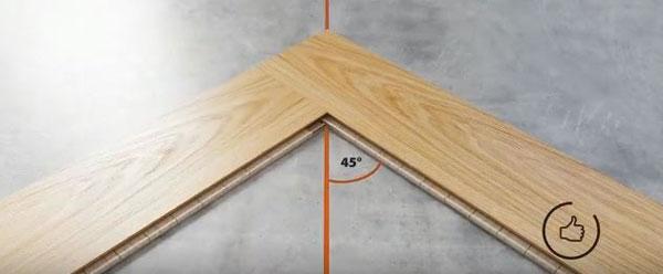 ghép 2 miếng ván sàn một góc 90 độ